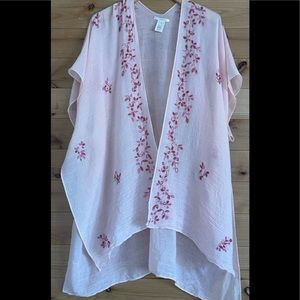 Do everything in love pink embroidered kimono